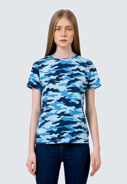 Blue Camo Crew Neck T-Shirt