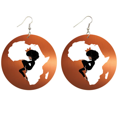 Africa's Queen Wooden Earrings - Shades of My Melanin LLC