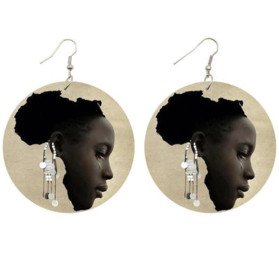 African Queen's Tears Wooden Earrings - Shades of My Melanin LLC