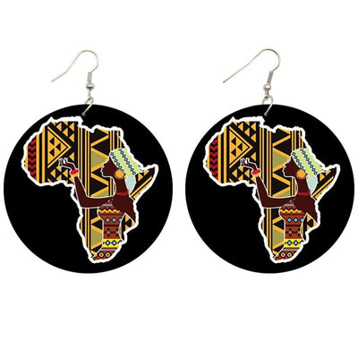 African Cloth Pattern Wooden Earrings - Shades of My Melanin LLC