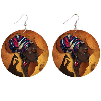 African Queen Jewel Wooden Earrings - Shades of My Melanin LLC
