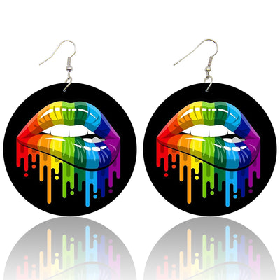 Rainbow Drip Lips Wooden Earrings - Shades of My Melanin LLC