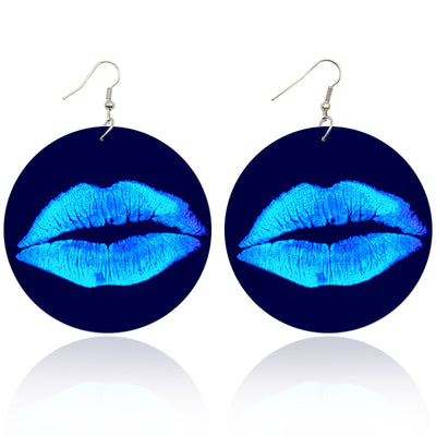Blue Glow Drip Lips Wooden Earrings - Shades of My Melanin LLC