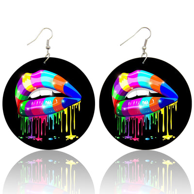 Paint Drip Lips Wooden Earrings - Shades of My Melanin LLC