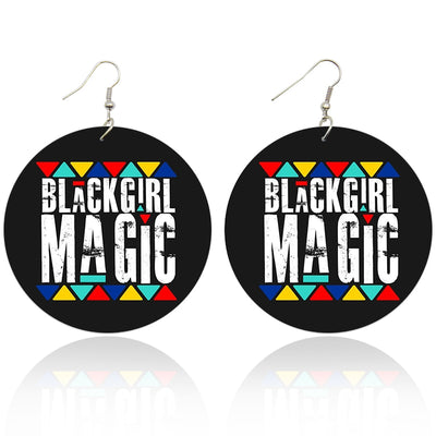 Colorful Black Girl Magic Wooden Earrings - Shades of My Melanin LLC