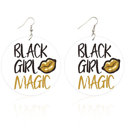 Black Girl Magic Wooden Earrings - Shades of My Melanin LLC