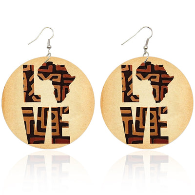 Africa Love Wooden Earrings - Shades of My Melanin LLC