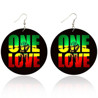 One Love Wooden Earrings - Shades of My Melanin LLC