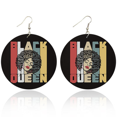 Black Queen on Repeat Wooden Earrings - Shades of My Melanin LLC