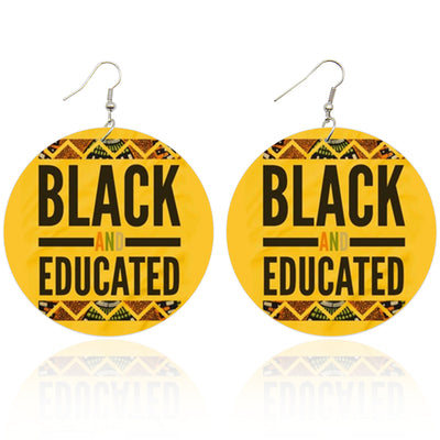 Black and Educated Wooden Earrings - Shades of My Melanin LLC