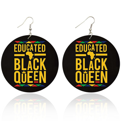 Educated Black Queen (Multi-colored) Wooden Earrings - Shades of My Melanin LLC