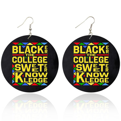 Blacker the College Sweeter the Knowledge Wooden Earrings - Shades of My Melanin LLC