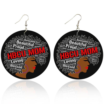 HBCU Mom Wooden Earrings - Shades of My Melanin LLC