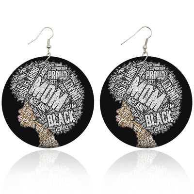 Black Mom Wooden Earrings - Shades of My Melanin LLC