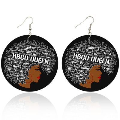 HBCU Queen Wooden Earrings - Shades of My Melanin LLC