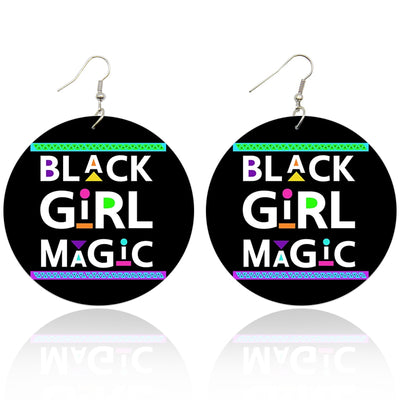 Neon Black Girl Magic Wooden Earrings - Shades of My Melanin LLC