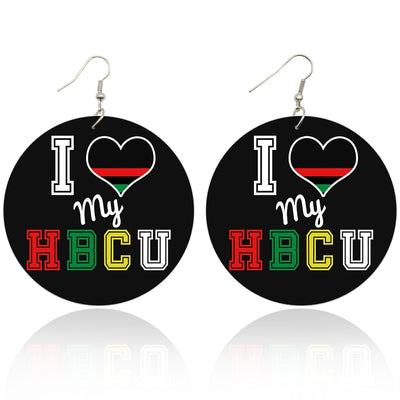 I Love My HBCU Wooden Earrings - Shades of My Melanin LLC