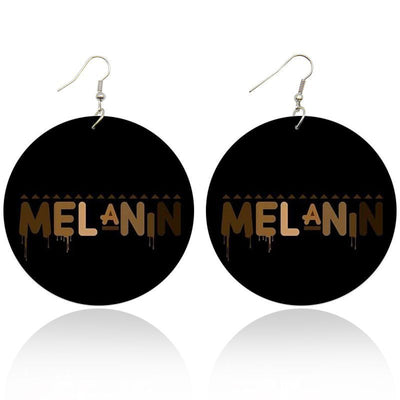 Melanin Wooden Earrings - Shades of My Melanin LLC