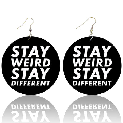 Stay Weird Stay Different Wooden Earrings - Shades of My Melanin LLC