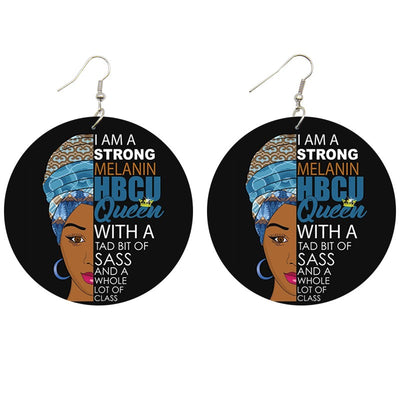 HBCU Sass Queen Wooden Earrings - Shades of My Melanin LLC