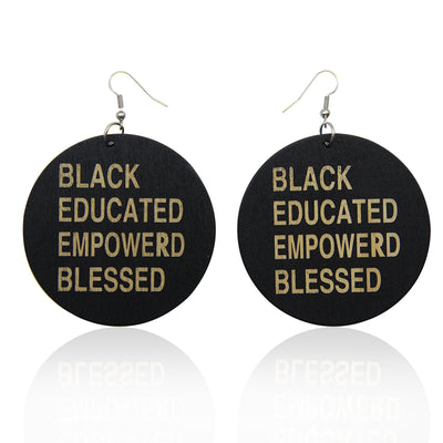 Black, Educated, Empowered, Blessed Wooden Earrings - Shades of My Melanin LLC