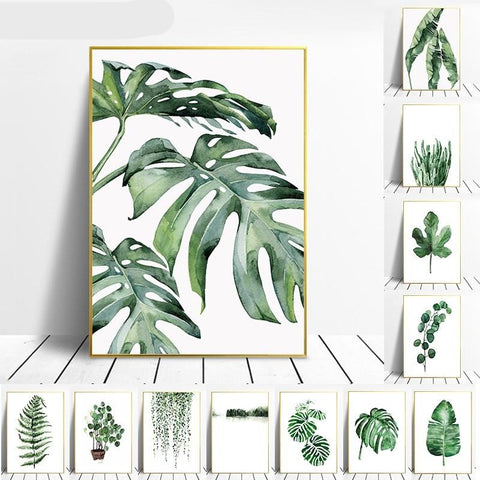 Tropical Green Leaves Poster 1