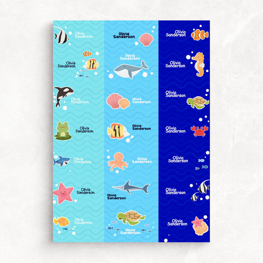 Sea Creature Name Labels - Personalised Childrens Books