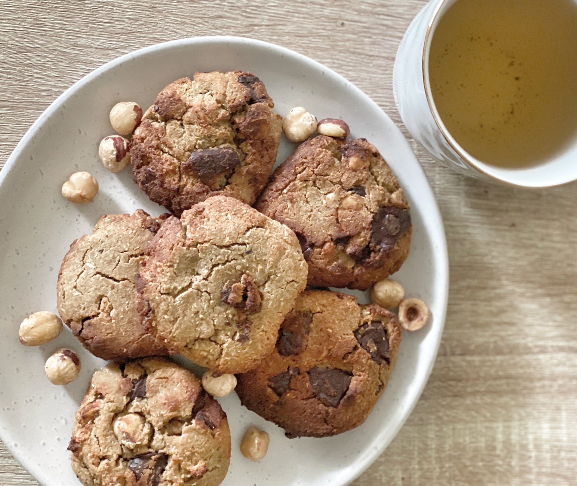 Choc chip and hazelnut nourish cookies! (gf, v, low carb)