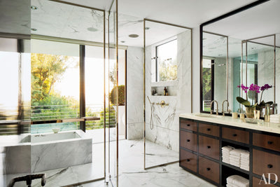 BEST IN MARBLE: ARCHITECTURAL DIGEST'S 22 BATHS SWATHED IN GRAPHIC MARBLE