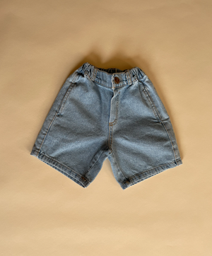 Block Denim Shorts