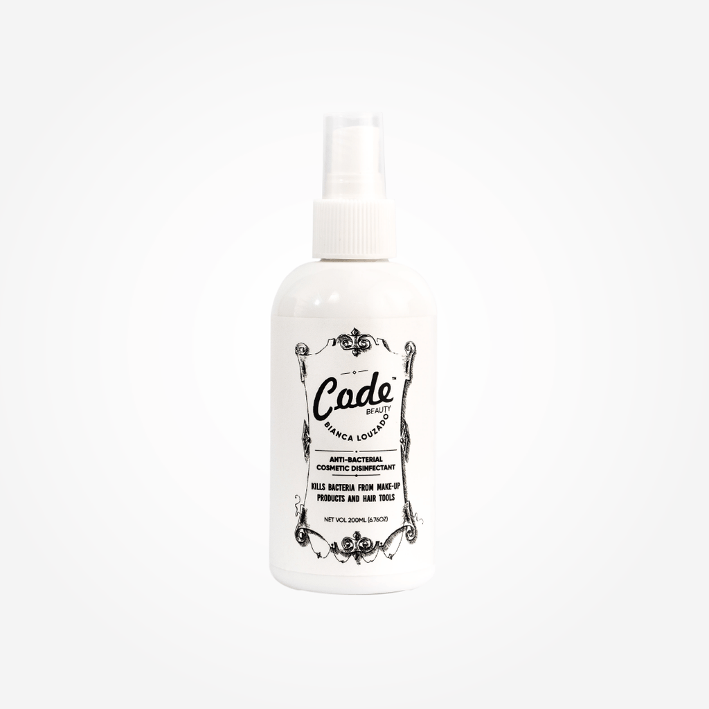 CODE Beauty Antibacterial Cosmetic Disinfectant is 100% effective when sprayed on make-up products such as eyeshadows / powder blushes & bronzers /pressed powders /make-up brushes as well as on hair styling tools by instantly killing harmful surface bacteria.