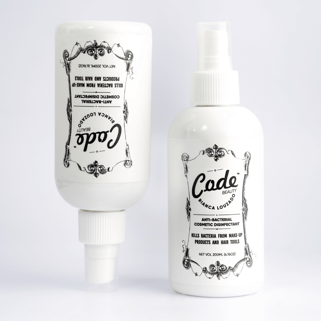 CODE BEAUTY Antibacterial Cosmetic Disinfectant is 100% effective when sprayed on make-up products such as eyeshadows / powder blushes & bronzers /pressed powders /make-up brushes as well as on hair styling tools by instantly killing harmful surface bacteria.  200 ml