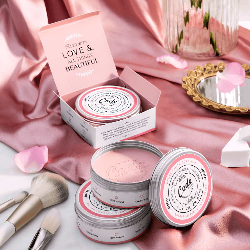 CODE Beauty's 'La Vie En Rose' - Apothecary Brush Sponge Cleansing Balm (Bulgarian Rose & Ylang Ylang) is an anti-bacterial hand-poured balm that cleans, conditions, sanitises your beauty blenders & brushes; both natural & synthetic.