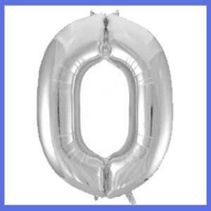 Number 0 Giant Silver Foil Balloon