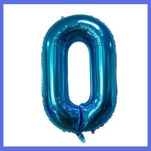 Number 0 Giant Blue Foil Balloon