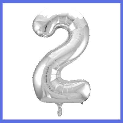 Number 2 Giant Silver Foil Balloon