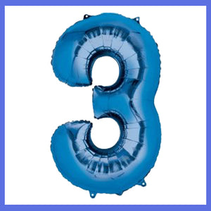 Number 3 Giant Blue Foil Balloon