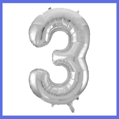 Number 3 Giant Silver Foil Balloon