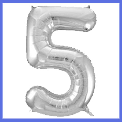 Number 5 Giant Silver Foil Balloon
