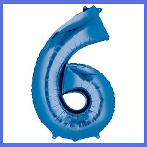 Number 6 Giant Blue Foil Balloon