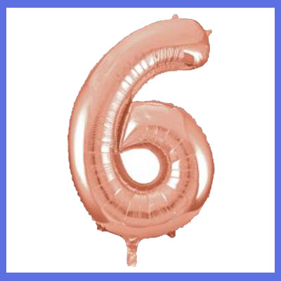 Number 6 Giant Rose Gold Foil Balloon