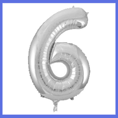 Number 6 Giant Silver Foil Balloon