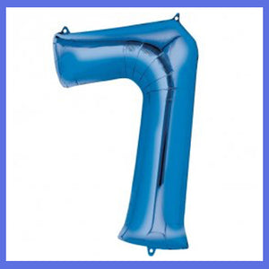 Number 7 Giant Blue Foil Balloon