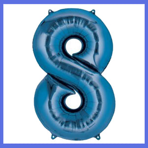 Number 8 Giant Blue Foil Balloon