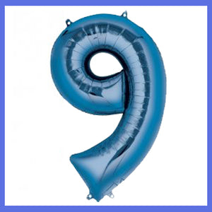 Number 9 Giant Blue Foil Balloon