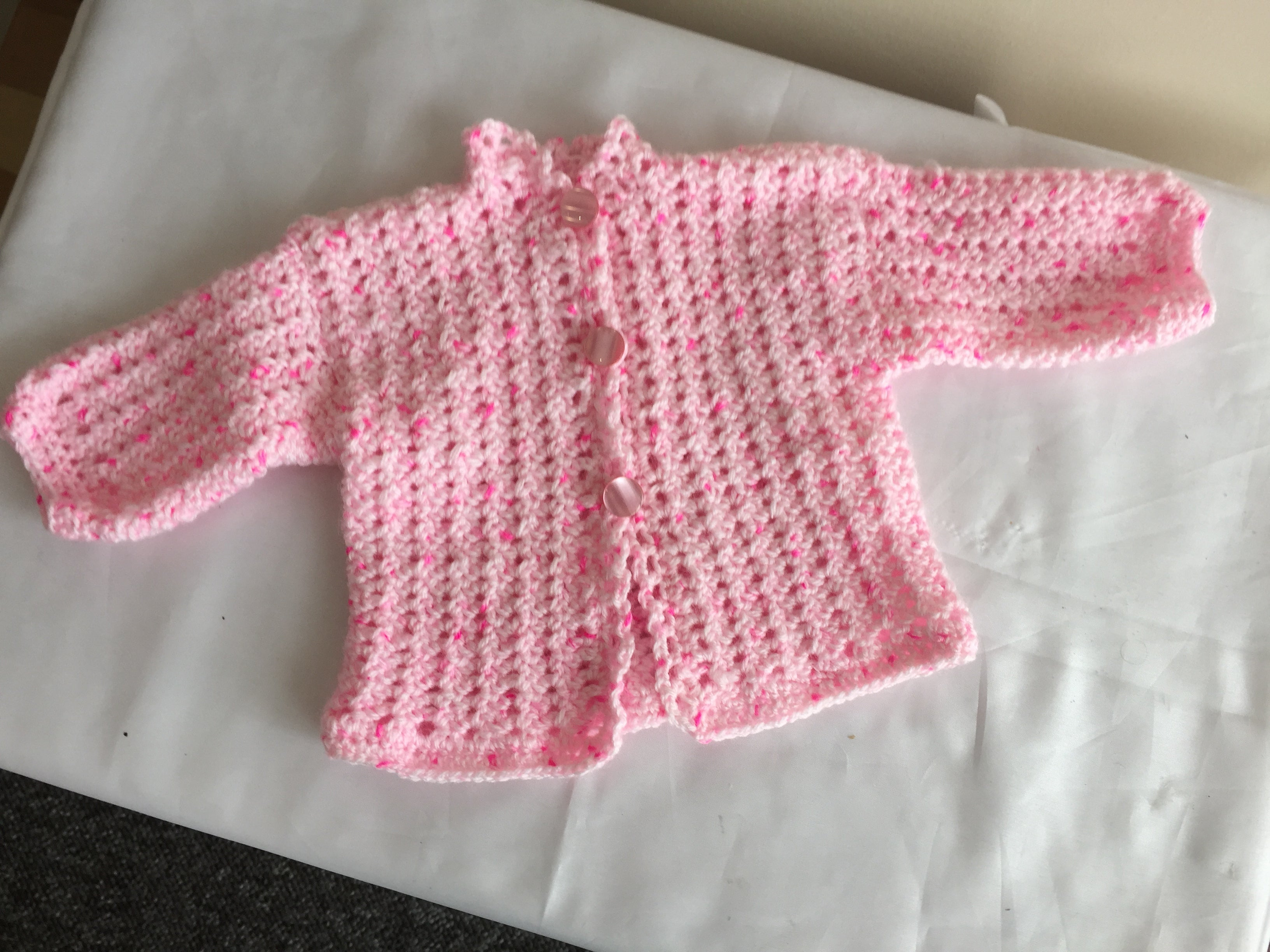 Hand Crocheted Baby Pink Jacket