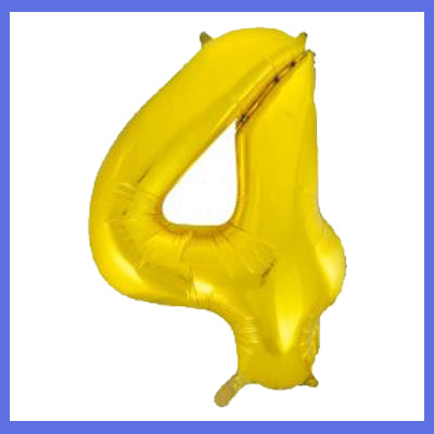 Number 4 Gold Foil Giant Balloon