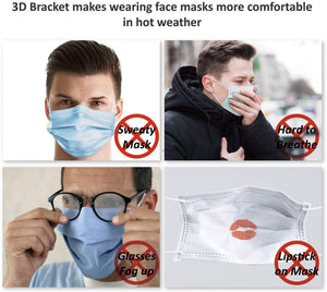10PCS 3D Printed Reusable Mask Holder Frame - Silicone 3D Mask Bracket Breath Support