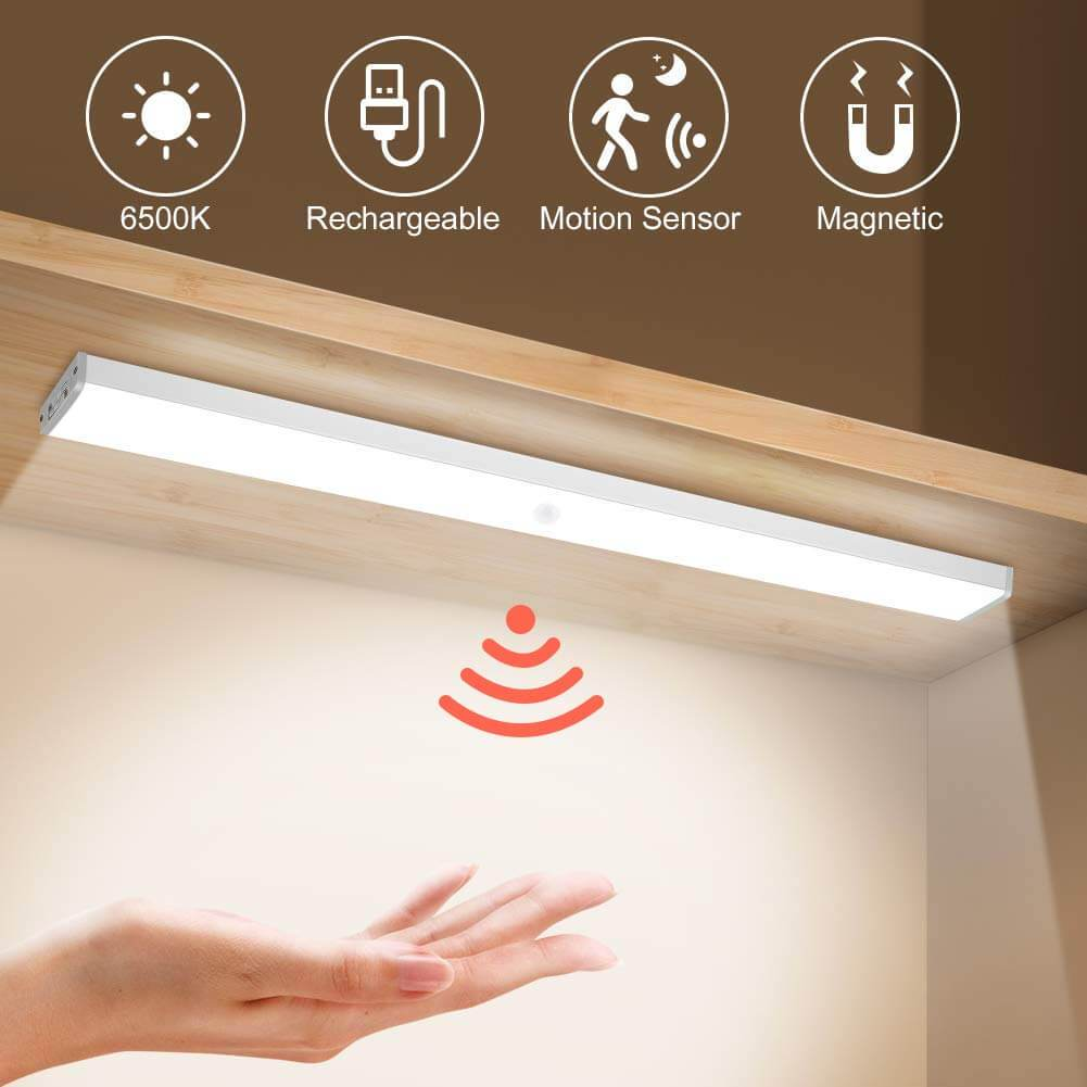 10 Pcs Motion Sensor Stick-On Closet LED Light Under Cabinet, Magnetic Strip Wall Light