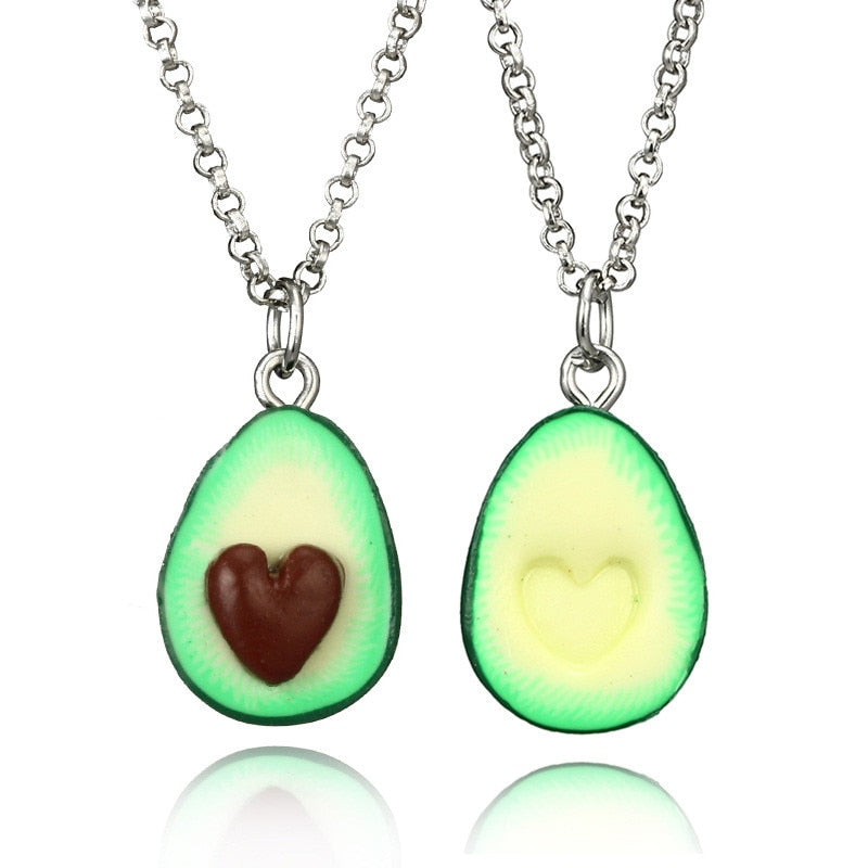 2 Avocado Pendant Heart Best Friend Necklace